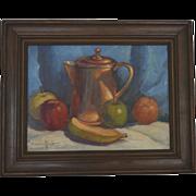 Still life oil painting with Copper pot Paul Schmitt
