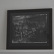 Black & white silk lithograph Coit Tower Mark Luca