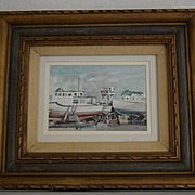 Oakland California estuary two ships watercolor by W. R. Cameron