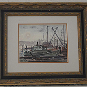 Oakland California estuary boat watercolor W. R. Cameron