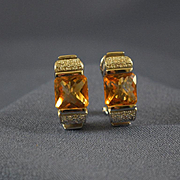 European citrines white gold & diamonds 14k earrings