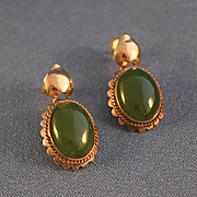 Green jade rose 14k gold pierced earrings