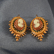 Victorian rose gold cameo earrings