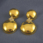 Diamond & 18k gold baubles pierced earrings