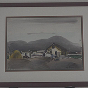 Landscape Marin county farm scene watercolor by Ray Wilson