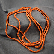 "Victorian salmon coral bead  52"" long"