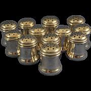 Set of 12 individual salt & pepper shakers sterling silver monogram S