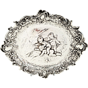 SOLD Antique German Silver Dish/Tray - Fairies Playing with a Frog - c1880