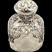 Antique Victorian Sterling Silver & Glass Perfume Bottle 1896 - Biblical Scene