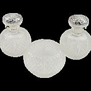 Super Pair Antique Glass & Sterling Silver Perfume Bottles & Bowl 1902