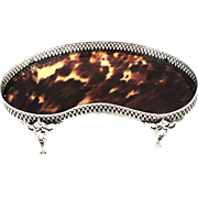 SOLD Antique Sterling Silver & Tortoiseshell Trinket / Pin Tray on Feet 1914