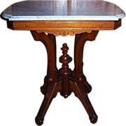 Walnut Lamp Table, Center Table, Victorian Marble Top
