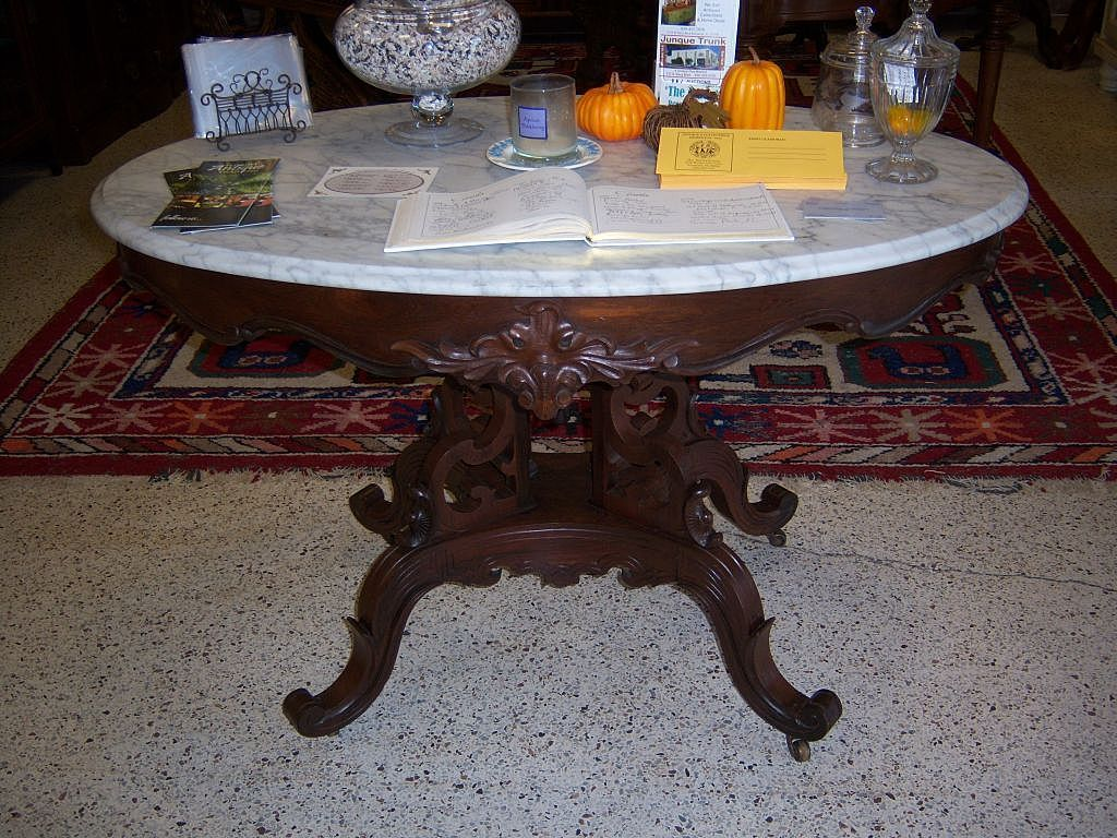 Foyer Table With Marble Top : Rosewood marble top center or foyer table victorian