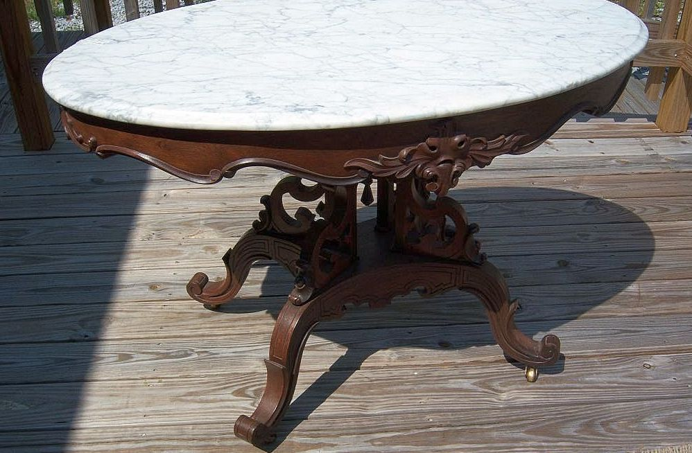 Victorian Foyer Table : Rosewood marble top center or foyer table victorian