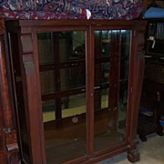 Mahogany Bookcase or China Cabinet, Empire Revival, Two Door
