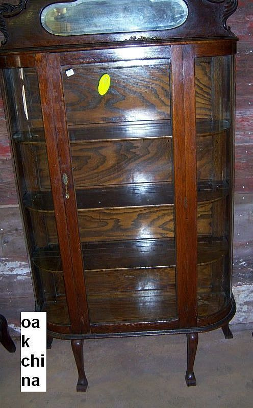 Oak Curved Glass China Cabinet From Robertsantiques On