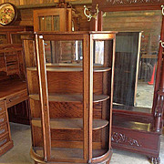 Oak Curved Glass China Cabinet, Paw Feet