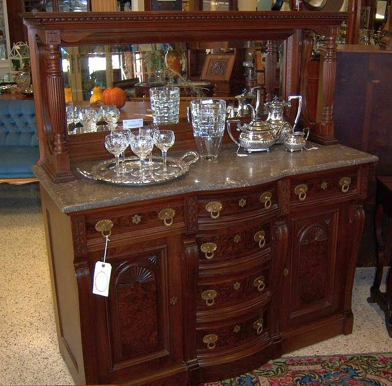 Walnut and Burl Walnut Victorian Sideboard, Marble Top