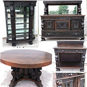 Oak Full Winged Full Griffins;  Dining Table, China Cabinet, Sideboard, Server
