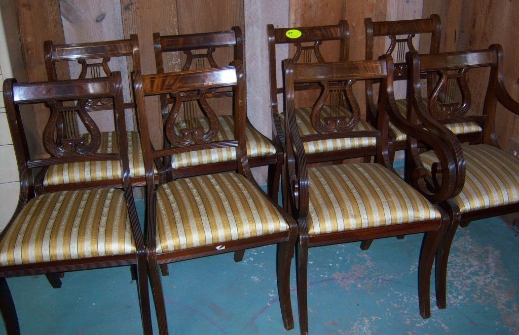 Mahogany Lyre Back Dining Chairs, Federal Sheraton Style, Set of 8 from robertsantiques on Ruby Lane