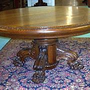 "Quarter Sawn Oak 60"" Round Table w Carved Pedestal Base"