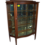 SOLD Mahogany China Cabinet, Serpentine Glass, , Hepplewhite Style