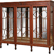 Mahogany China Cabinet or Bookcase, Inlaid Marquetry, Three Door