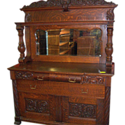 Oak Sideboard Buffet, Mirror and Carvings, 1890