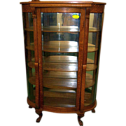 Oak Curved Glass China or Curio Cabinet