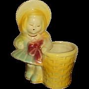 USA Pottery 543 Girl with Basket Figural Planter