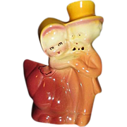 Dancing Couple Figural Planter in Amber, Rose, and Burgundy Colors