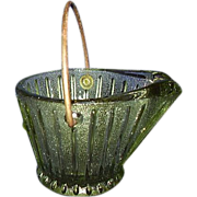 REDUCED Green Glass Coal Bucket Ash Tray