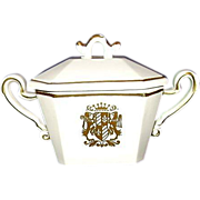 REDUCED Royal Sealy Japan Porcelain Chantilly Covered Sugar Bowl Gold Coat of Arms Crest