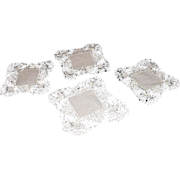 REDUCED Linen Coasters Beautiful Handmade Lace Edging ~ FREE Shipping in US