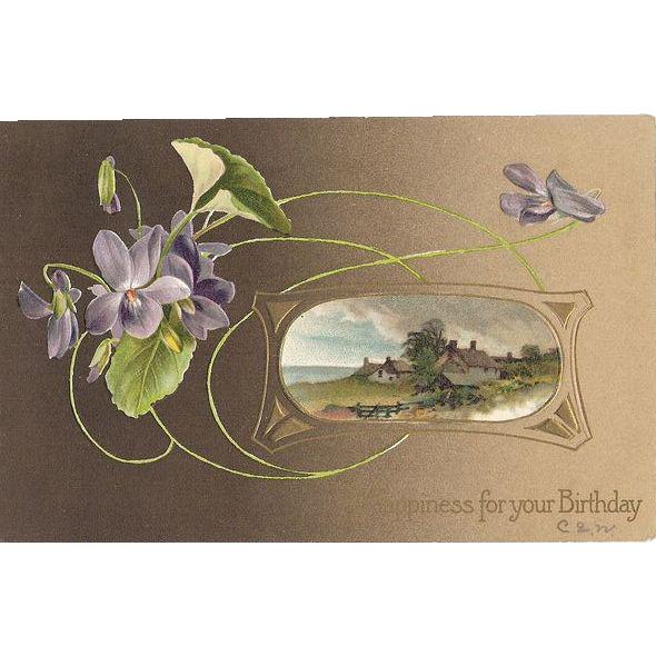 1910 Embossed German Birthday Post Card ~ Florals & Cottage Scene