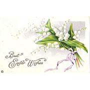 1920 Embossed Easter Greetings ~ Stecher Lithography Co. Post Card Series 523F