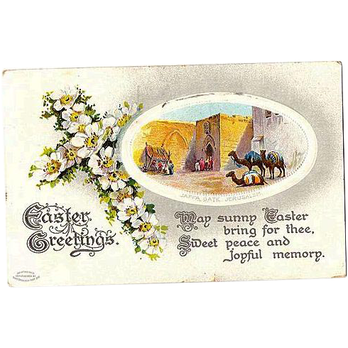 1910 Birn Brothers Embossed Easter Post Card ~ Jaffa Gate, Jerusalem ~Series 2529