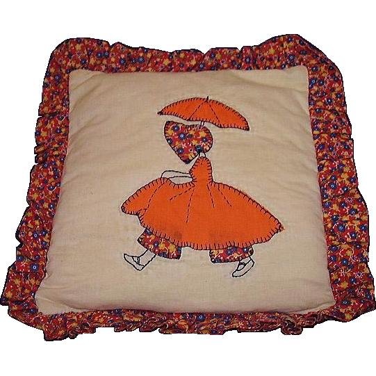 Girl w/ Parasol Quilt Pattern Pillow ~ Handmade Applique ~ Calico Ruffle
