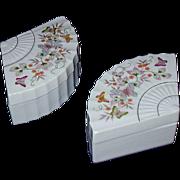 REDUCED Fan Shaped Porcelain Trinket Box Pair - Butterflies Japan 1980 Avon