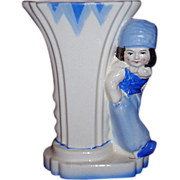 Charming Dutch Boy Vase Blue and White Japan