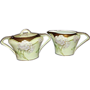 SALE Art Deco German Porcelain Sugar Creamer Set 18K Gold Trim 1920s Handpainted Signed
