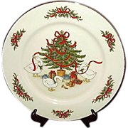 Country Christmas Plate Vintage White Porcelain Japan