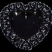 Black Glass Heart Edge Heart Shaped Dish