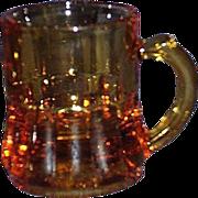 Federal Glass Amber Miniature Shot Glass Mugs Set of 2