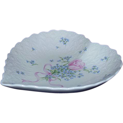 "Mikasa Japan Heart Shaped Dish Pink Rose, ""Always and Forever"""