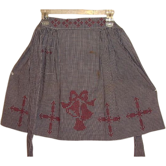 Holiday Apron Navy Blue White Gingham Check with Red Cross Stitch