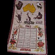 1982 Australia Linen Calendar Towel Designed & Signed Neil ~FREE US Shipping
