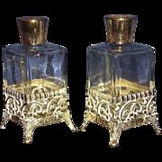 SALE Vanity Perfume Bottles Gold-Tone Filigree Metal Overlay Base Matching Pair