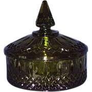 SALE Indiana Glass Princess Avocado Green Candy Dish 1970s