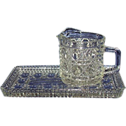 Federal Glass Windsor Creamer and Tray Stunning Geometric Pattern